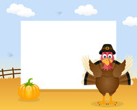 Turkey Thanksgiving Horizontal Frame. A Happy Thanksgiving Day horizontal photo frame with a cute turkey character and a pumpkin in a countryside scene Stock Photo