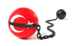 Turkey tied to a Ball and Chain Stock Image