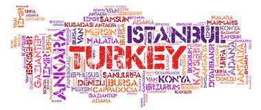 Turkey top travel destinations word cloud. Turkey map silhouette word cloud with most popular travel destinations vector illustration
