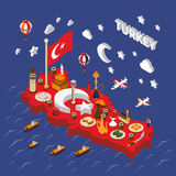 Turkey Touristic  Attractions Isometric Map Poster Royalty Free Stock Photography