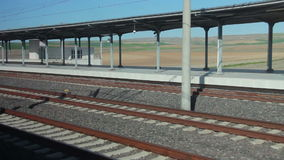 Turkey Train tracks view, green landspace, 2016 stock footage
