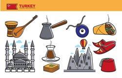 Turkey travel destination promotional poster with national symbols. Turkey travel destination promotional poster. Traditional musical instruments, metal cezve Royalty Free Stock Photo