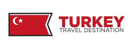 Turkey travel destination words and flag Stock Image