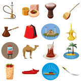 Turkey travel icons set, cartoon style Royalty Free Stock Photo