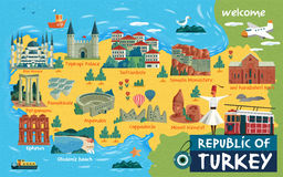 Turkey travel map. And Turkish words for cotton castle on the left side, saffron city in the middle and ruins of ani on the right side stock illustration
