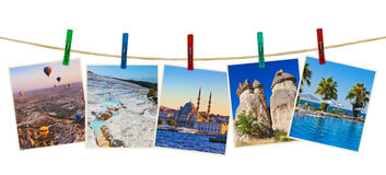 Turkey travel photography on clothespins Stock Photos