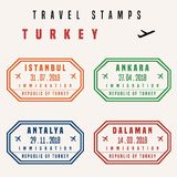 Turkey travel stamps Royalty Free Stock Photos