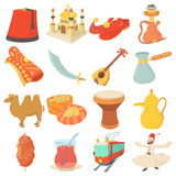 Turkey travel symbols icons set, cartoon style Stock Image