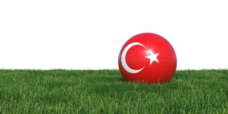 Turkey Turkish soccer ball lying in grass world cup 2018. Turkey Turkish flag soccer ball lying in grass world cup 2018, isolated on white background. 3D Royalty Free Stock Photography