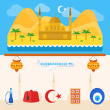 Turkey or turkish icons and background Royalty Free Stock Photos