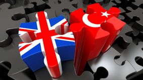 Turkey and United Kingdom flags on puzzle pieces. Political relationship concept. 3D rendering Stock Images