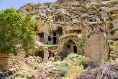 Turkey, Urgup. Abandoned caves in the old town Stock Photos
