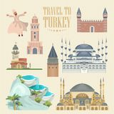 Turkey vector vacations illustration. Colorful set. Istanbul. Turkey vector vacations illustration. Travel agency poster. Istanbul card. Colorful set Stock Images