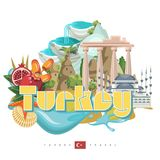 Turkey vector vacations illustration with Pamukkale and Cappadocia. Istanbul. Turkey vector vacations illustration with  Pamukkale and Cappadocia. Travel agency Stock Photography