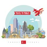 Turkey vector vacations illustration with airplane. Light flat design. Retro design. Welcome to Turkey. Istanbul. Turkey vector vacations illustration. Travel Stock Image