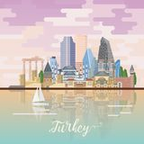Turkey vector vacations illustration with turkish landmarks. Istanbul. Turkey vector vacations illustration with turkish landmarks. Travel agency poster Stock Photos