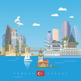 Turkey vector vacations illustration with turkish landmarks and map. Istanbul. Turkey vector vacations illustration with turkish landmarks and map. Travel agency Royalty Free Stock Photography