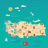 Turkey vector vacations illustration with turkish landmarks and map. Travel agency poster. Flat design. Turkey vector vacations illustration with turkish Royalty Free Stock Image