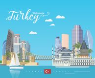 Turkey vector vacations illustration with turkish landmarks. Travel agency poster. Flat design. Turkey vector vacations illustration with turkish landmarks Royalty Free Stock Photos