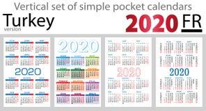 Turkey vertical set of pocket calendars for 2020 royalty free stock photo