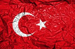 Turkey vintage flag on old crumpled paper background stock photo