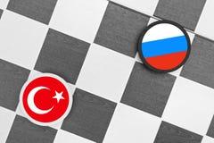 Turkey vs Russia. Draughts (Checkers) - Turkey vs Russia stock image