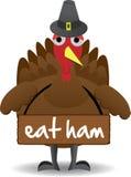 Turkey wearing eat ham sign anti-turkey Royalty Free Stock Photos