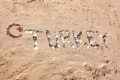 Turkey word written with pebbles on the beach sand Stock Photo