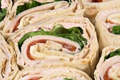 Turkey Wrap. A sliced turkey wrap sandwich Royalty Free Stock Photos