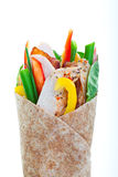Turkey Wrap. Healthy whole wheat turkey wrap on a white background Stock Images
