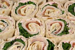 Turkey wrap sandwiches Royalty Free Stock Image