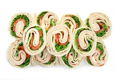 Turkey Wrap Sandwiches on White Stock Images