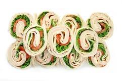 Turkey Wrap Sandwiches on White stock images