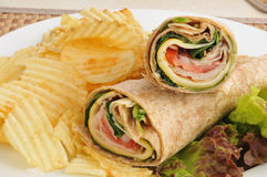 Turkey wraps with chips Stock Photography