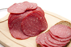 Turkeys salami with bread Royalty Free Stock Images