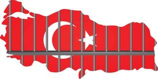 Turkiet översikt med fängelsestänger Royaltyfria Foton