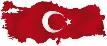 Turkiet översikt med flaggan Fotografering för Bildbyråer