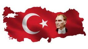 Turkiet Ataturk - turkisk flagga- och översiktsvitbakgrund stock illustrationer
