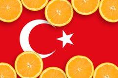 Turkiet flagga i citrusfruktskivahorisontalram royaltyfri bild
