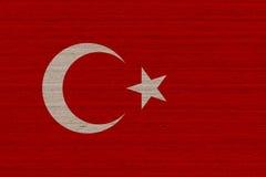 Turkiet flagga på trä Arkivfoto
