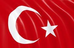 Turkiet flagga som vinkar på vind stock illustrationer