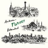 Turkiet - hand dragen samling Royaltyfri Fotografi