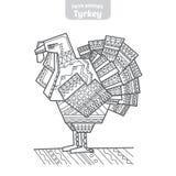 Turkiet hand-dragen vektorillustration royaltyfri illustrationer