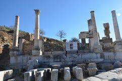 Turkiet Izmir, Bergama i Hellenistic byggnader för gammalgrekiska, denna är en verklig civilisation, badar fotografering för bildbyråer