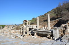 Turkiet Izmir, Bergama i Hellenistic byggnader för gammalgrekiska, denna är en verklig civilisation, badar arkivfoton