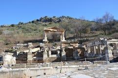 Turkiet Izmir, Bergama i Hellenistic doffetent byggnader för gammalgrekiska, denna är en verklig civilisation, badar Arkivfoton