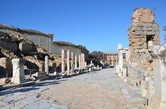 Turkiet Izmir, Bergama i Hellenistic olik stentrappa för gammalgrekiska, denna är en verklig civilisation, badar Arkivbild