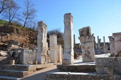 Turkiet Izmir, Bergama i Hellenistic olika steninskrifter för gammalgrekiska, denna är en verklig civilisation, badar Arkivfoton