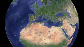 Turkiet med flaggan jord 3d i utrymme