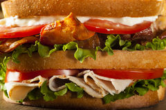 Turkiet och baconklubbasmörgås Royaltyfria Bilder